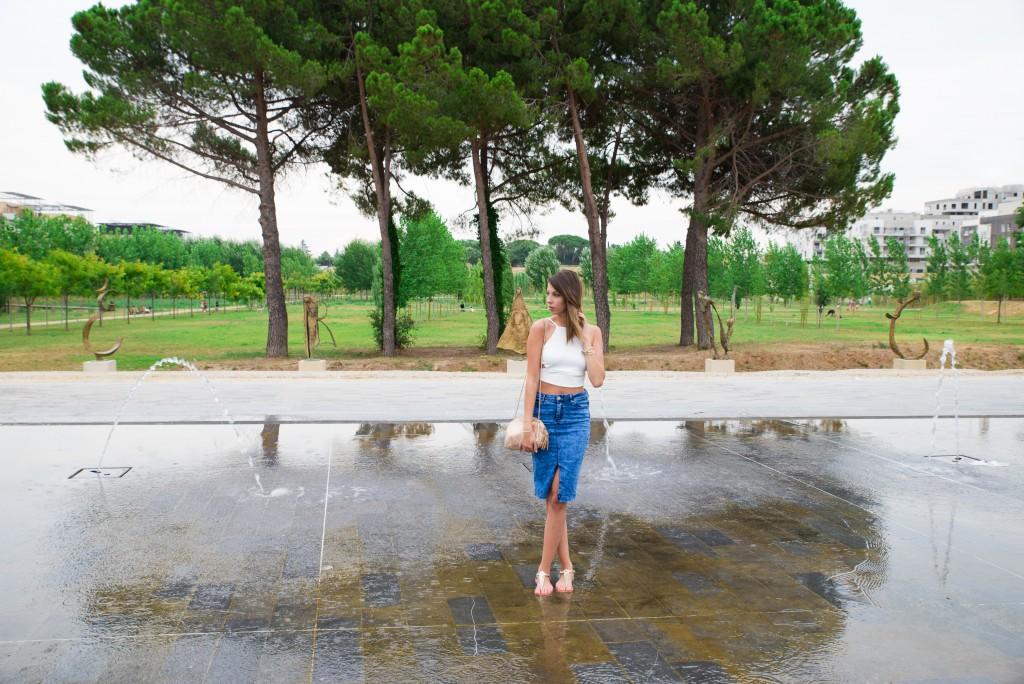 jupe en jean taille haute